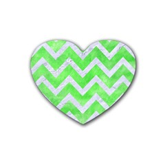 Chevron9 White Marble & Green Watercolor Rubber Coaster (heart)