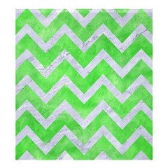 Chevron9 White Marble & Green Watercolor Shower Curtain 66  X 72  (large)