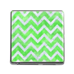 Chevron9 White Marble & Green Watercolor Memory Card Reader (square 5 Slot)