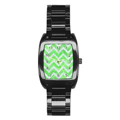 Chevron9 White Marble & Green Watercolor Stainless Steel Barrel Watch