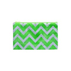 Chevron9 White Marble & Green Watercolor Cosmetic Bag (xs)