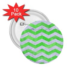 Chevron3 White Marble & Green Watercolor 2 25  Buttons (10 Pack)