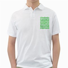 Chevron3 White Marble & Green Watercolor Golf Shirts