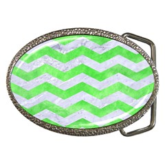 Chevron3 White Marble & Green Watercolor Belt Buckles