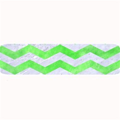 Chevron3 White Marble & Green Watercolor Large Bar Mats