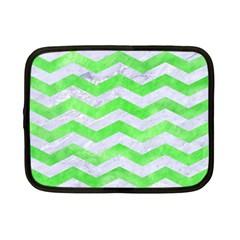 Chevron3 White Marble & Green Watercolor Netbook Case (small)