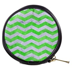 Chevron3 White Marble & Green Watercolor Mini Makeup Bags