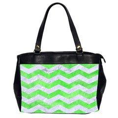 Chevron3 White Marble & Green Watercolor Office Handbags (2 Sides)