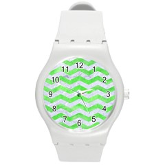 Chevron3 White Marble & Green Watercolor Round Plastic Sport Watch (m)
