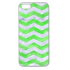 Chevron3 White Marble & Green Watercolor Apple Seamless Iphone 5 Case (clear)