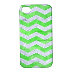 Chevron3 White Marble & Green Watercolor Apple Iphone 4/4s Hardshell Case With Stand