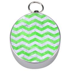 Chevron3 White Marble & Green Watercolor Silver Compasses by trendistuff
