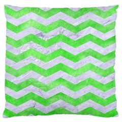 Chevron3 White Marble & Green Watercolor Large Flano Cushion Case (two Sides)