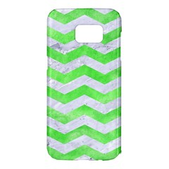 Chevron3 White Marble & Green Watercolor Samsung Galaxy S7 Edge Hardshell Case