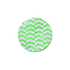 Chevron2 White Marble & Green Watercolor Golf Ball Marker