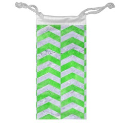 Chevron2 White Marble & Green Watercolor Jewelry Bags