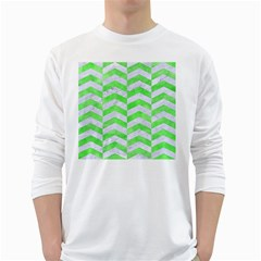 Chevron2 White Marble & Green Watercolor White Long Sleeve T Shirts