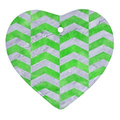 Chevron2 White Marble & Green Watercolor Heart Ornament (two Sides)