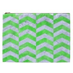 Chevron2 White Marble & Green Watercolor Cosmetic Bag (xxl)