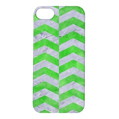 Chevron2 White Marble & Green Watercolor Apple Iphone 5s/ Se Hardshell Case