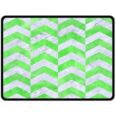 Chevron2 White Marble & Green Watercolor Double Sided Fleece Blanket (large)