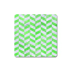 Chevron1 White Marble & Green Watercolor Square Magnet