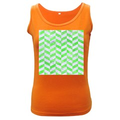 Chevron1 White Marble & Green Watercolor Women s Dark Tank Top