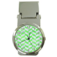 Chevron1 White Marble & Green Watercolor Money Clip Watches