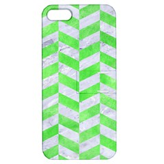 Chevron1 White Marble & Green Watercolor Apple Iphone 5 Hardshell Case With Stand