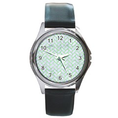 Brick2 White Marble & Green Watercolor (r) Round Metal Watch