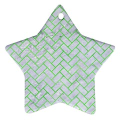 Brick2 White Marble & Green Watercolor (r) Ornament (star)