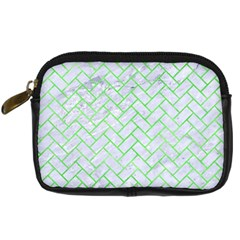 Brick2 White Marble & Green Watercolor (r) Digital Camera Cases