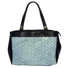 Brick2 White Marble & Green Watercolor (r) Office Handbags
