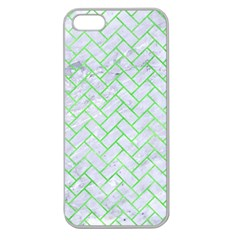 Brick2 White Marble & Green Watercolor (r) Apple Seamless Iphone 5 Case (clear)