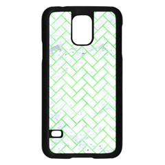 Brick2 White Marble & Green Watercolor (r) Samsung Galaxy S5 Case (black)
