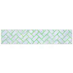 Brick2 White Marble & Green Watercolor (r) Small Flano Scarf