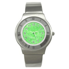 Brick2 White Marble & Green Watercolor Stainless Steel Watch