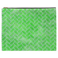 Brick2 White Marble & Green Watercolor Cosmetic Bag (xxxl)