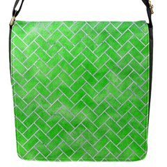 Brick2 White Marble & Green Watercolor Flap Messenger Bag (s)