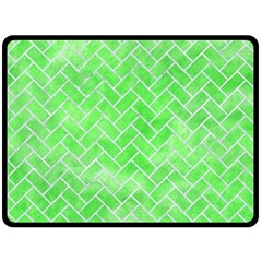 Brick2 White Marble & Green Watercolor Double Sided Fleece Blanket (large)