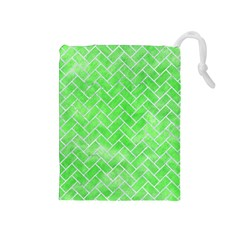 Brick2 White Marble & Green Watercolor Drawstring Pouches (medium)