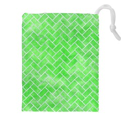 Brick2 White Marble & Green Watercolor Drawstring Pouches (xxl)