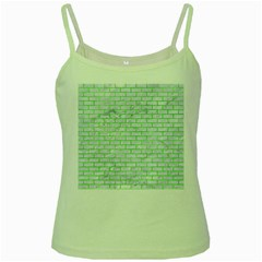 Brick1 White Marble & Green Watercolor (r) Green Spaghetti Tank