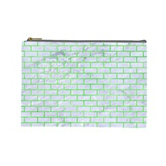 Brick1 White Marble & Green Watercolor (r) Cosmetic Bag (large)