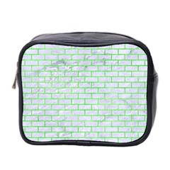 Brick1 White Marble & Green Watercolor (r) Mini Toiletries Bag 2 Side