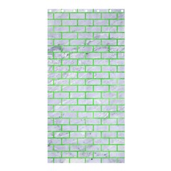 Brick1 White Marble & Green Watercolor (r) Shower Curtain 36  X 72  (stall)