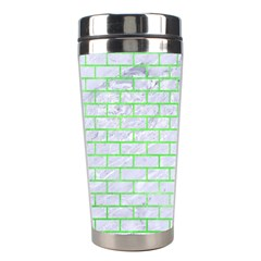 Brick1 White Marble & Green Watercolor (r) Stainless Steel Travel Tumblers