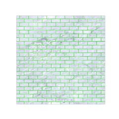 Brick1 White Marble & Green Watercolor (r) Small Satin Scarf (square)