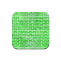 Brick1 White Marble & Green Watercolor Rubber Square Coaster (4 Pack)