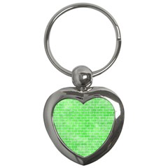Brick1 White Marble & Green Watercolor Key Chains (heart)